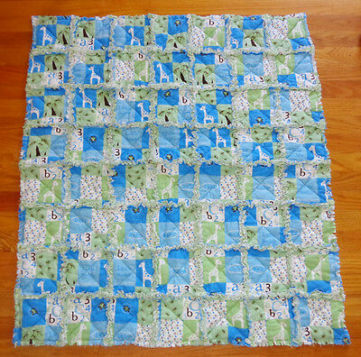 HANDMADE LITTLE  BUDDY BOY QUILT/Crib blanket/ rag quilt/ baby shower gift