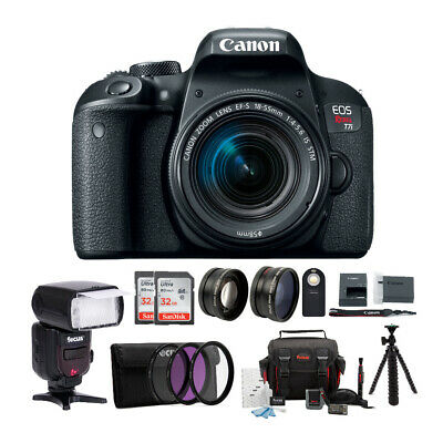 Canon EOS Rebel T7i DSLR w/18-55mm lens + TTL Swivel Flash & 64GB Supreme Bundle
