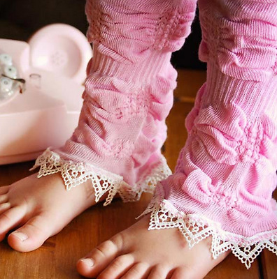 Huggalugs Vintage Leg Ruffles Legwarmers Leggings Lace Girls Women Dance