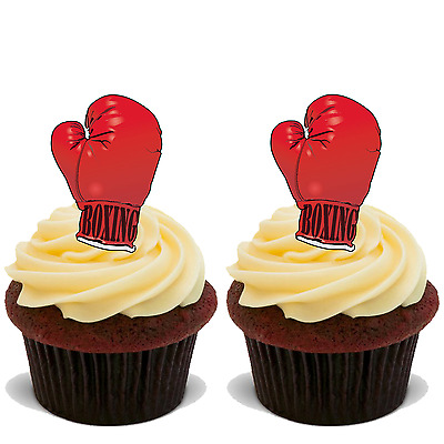 15x BOXING GLOVES Premium Edible Stand Up Rice Wafer Cup Cake Toppers D1