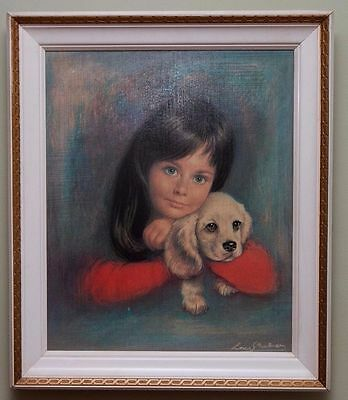 Vintage Retro 1960s Original 'Puppy Love' by Louis Shabner framed print Picture