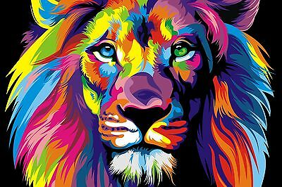 "Colourful Lion Abstract Canvas Painting Print Wall Art Picture 24""x36"""