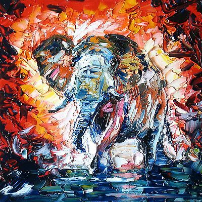 "Abstract Elephant Canvas Painting Print Modern Picture Wall Art 24""x24"""