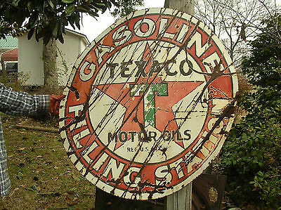 "Texaco Filling Station Porcelain Sign- 42"" Gas Oil Service Station- Hard to Find"