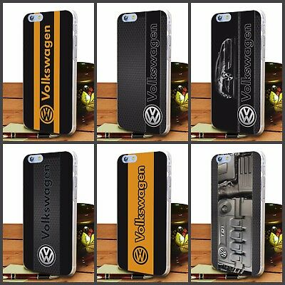 Volkswagen hard transparent clear Cover case For iPhone 4 5 6 7 8 Plus X Painted
