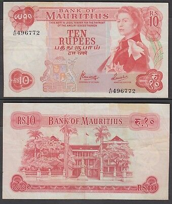 Mauritius 10 Rupees 1967 at (VF) Condition Banknote P-31c