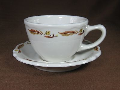Homer Laughlin Restaurant Ware Cup and Saucer Cream Color with Brown Decorations