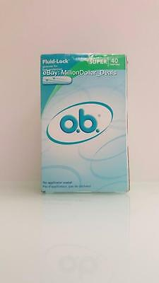 o.b. Fluid-Lock Leak Protection Tampons Super 40 Count