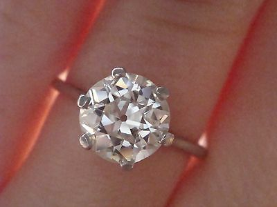 Art Deco Platinum Old Transitional Cut Diamond 1.30Ct Solitaire Ring