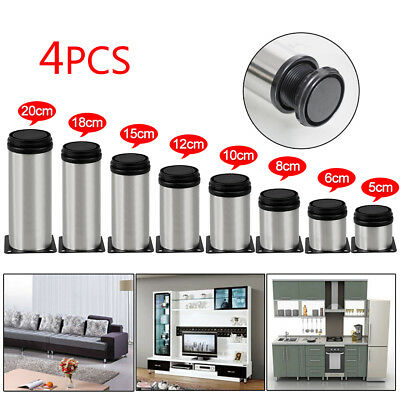 4 Pcs Stainless Steel Leg Round Metal Feet Adjustable Kitchen Cabinet Stand Base