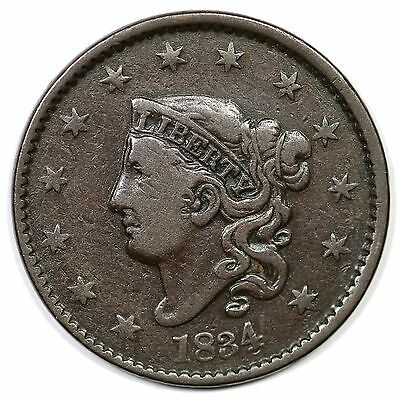 1834 N-4 R-2 Double Profile Matron or Coronet Head Large Cent Coin 1c