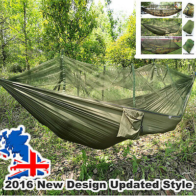 Double Person Portable Parachute Fabric Mosqutito Net Hammock for Camping Hiking