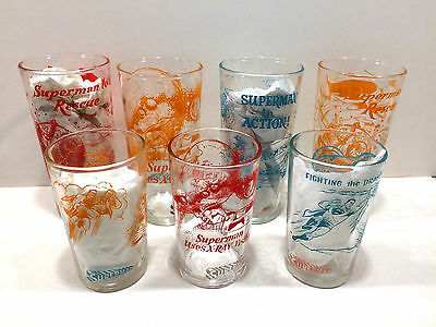 Uber-Rare 1964 Nm Set Of 7 Superman In Action Polaner Promo Glasses -Ships Free!