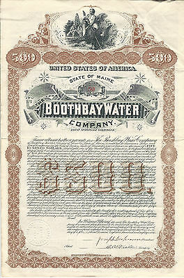 1889 MAINE The Boothbay Water Company $500  Bond Stock Certificate #50