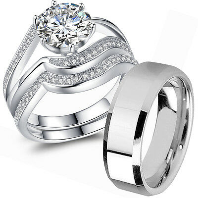 Wedding Rings Sets For Him And Her.Couple Wedding Ring Sets His And Hers 925 Sterling Silver Men S Stainless Steel