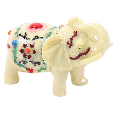 """Feng Shui 3.5"""" Ivory Color Elephant Trunk Statue Lucky Figurine Gift Home Decor"""