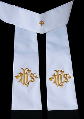 Priests' Stole. White with Gold Embroidered IHS
