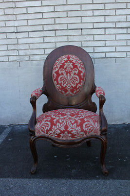 Exquisite Tiger Oak Living Room Side, End, Accent Armchair, New Red Upholstery