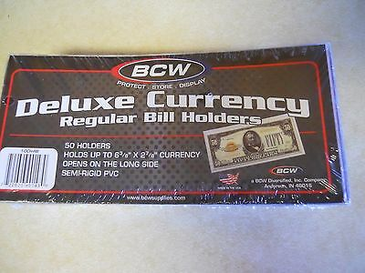 25 BCW Deluxe Vinyl Semi-Rigid Currency Holders Regular Bill Holder Size. USA!