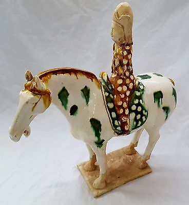 """Vintage Chinese Tang Dynasty Sancai Glazed Pottery Horse Statue & Rider 16"""""""