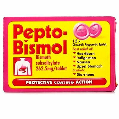 24 Pepto Bismol Chewable Peppermint Tablets For Nausea,Heartburn,Upset Stomach