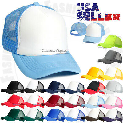 Trucker Hat Foam Mesh Baseball Cap Solid Plain Snapback Hats Curved Visor Caps