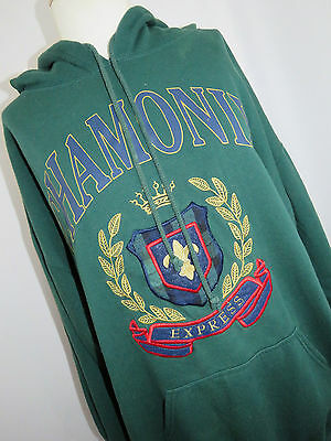 Express Women's Vintage Chamonix Green Hooded Sweatshirt Size Small