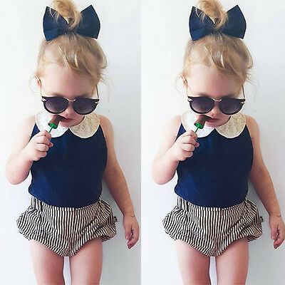 Toddler Kids Baby Girls T-shirt Tops+short Pants Set Kids Clothes Outfits 2Pcs