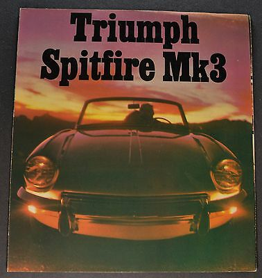 1967-1968 Triumph Spitfire Mk3 Sales Brochure Folder Excellent Original