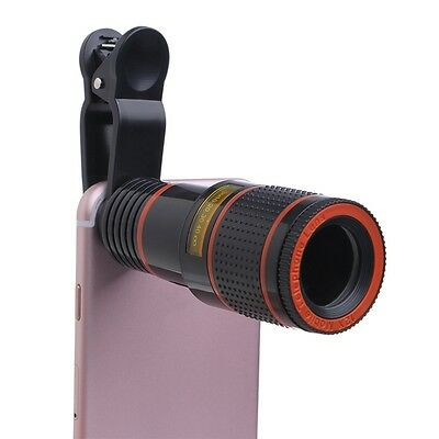 Clip-on 12x Optical Zoom HD Telescope Camera Lens For Mobile Phone Universal