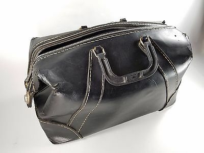 MARTIKE Antique Vintage Large Black Leather DOCTORS Medical Bag