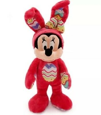 """New Disney Store Easter Minnie Mouse Plush Doll Bunny 14"""" Red Holiday"""
