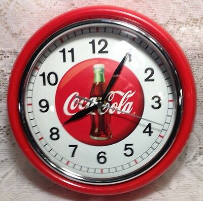 Coca-Cola 9.5-inch Round Wall Clock Metal and Chrome Battery Operated