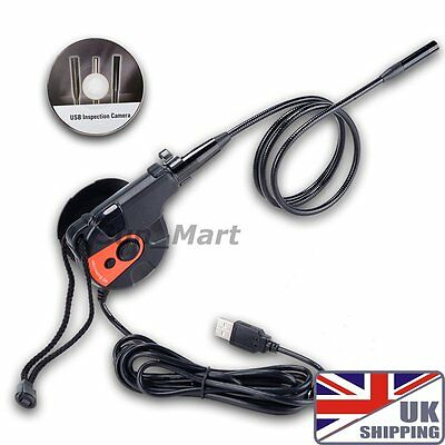 UK Ship USB HD Inspection Camera Borescope Tape Style 6 LED Endoscope Video