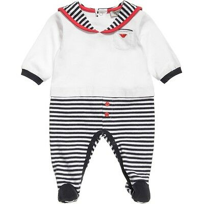 Armani Baby Cotton Sailor Babygrow 1 Month