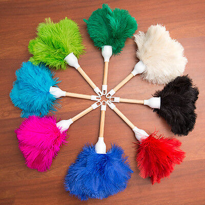 Eight ( 8 ) children's ostrich feather dusters 30cm overall plain wood  handle