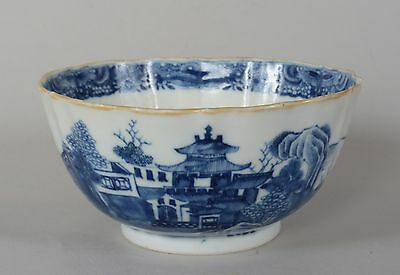 c1790 Antique Chinese Export Porcelain Nanking Blue White Ribbed Bowl Qing