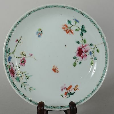 c1750 Antique Chinese Export Porcelain Enamel Flower Butterfly Plate
