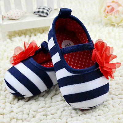Newborn 0-18M Girls Baby Crib Shoes Striped Flower Soft Sole Prewalker