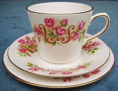 Pretty Vintage Queen Anne Rose Pattern Bone China Trio