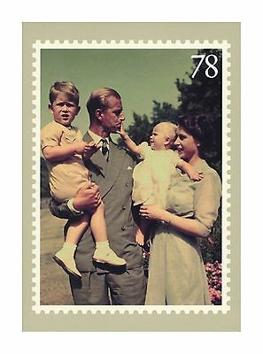 Princess Now Queen Elizabeth & Prince Philip Charles & Anne In 1951 R-Mail Card