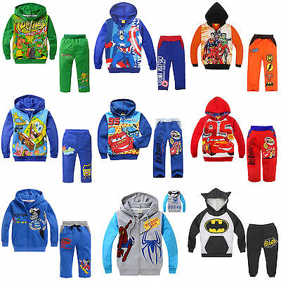Ninja Turtles Captain America BatMan Kids Clothes Set Boys Clothing Shirt & Pant