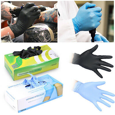 100X Black Nitrile Disposable Gloves Powder Latex Free Mechanic Tattoo Valeting
