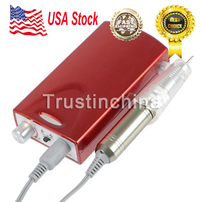Portable Electric Nail Drill File Rechargeable Cordless Manicure Machine Set Red