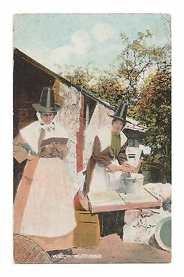 Welsh Costume - Two Women In National Dress Of Wales Etw Dennis Tinted Card 1924