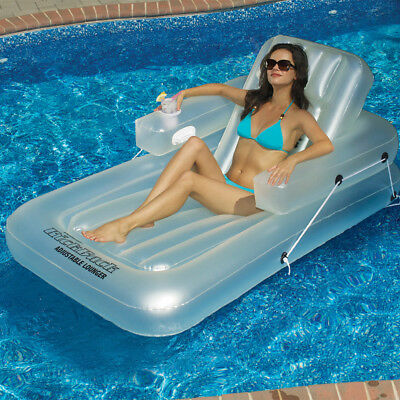 "Swimline 74""L x 44""W Swimming Pool Kickback Adjustable Lounger Inflatable Float"