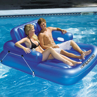 "Swimline 74""L x 60""W Swimming Pool Kickback Double Adjustable Lounger  Float"