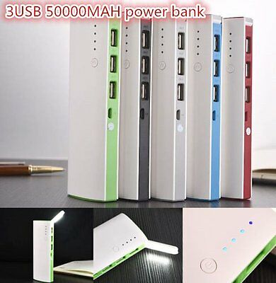 50000mAh 3 USB Backup External Battery Power Bank Pack Charger for Cell Phone TO