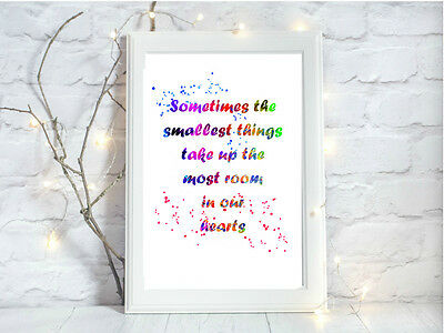 winnie the pooh quote glossy Print poster a4 paint splatter nursery unframed