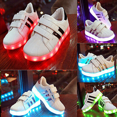Kid's Boys Girls LED Light USB Lace Up Luminous Sportswear Sneaker Casual Shoes